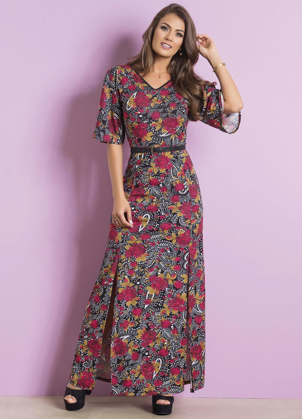 e416d7857b Vestido Longo Floral e Cashmere Moda Evangélica - Rosalie