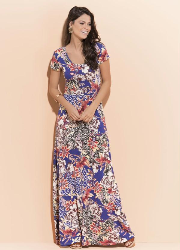 191643efe Quintess - Vestido Longo Quintess Floral com Manga Curta - Quintess