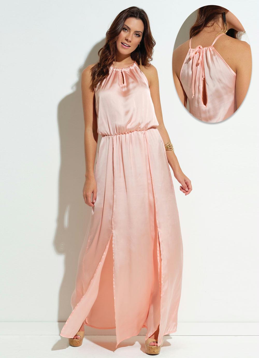 2dd3b2f08 Vestido Quintess em Chiffon Satin Rosa com Fenda - Quintess Outlet