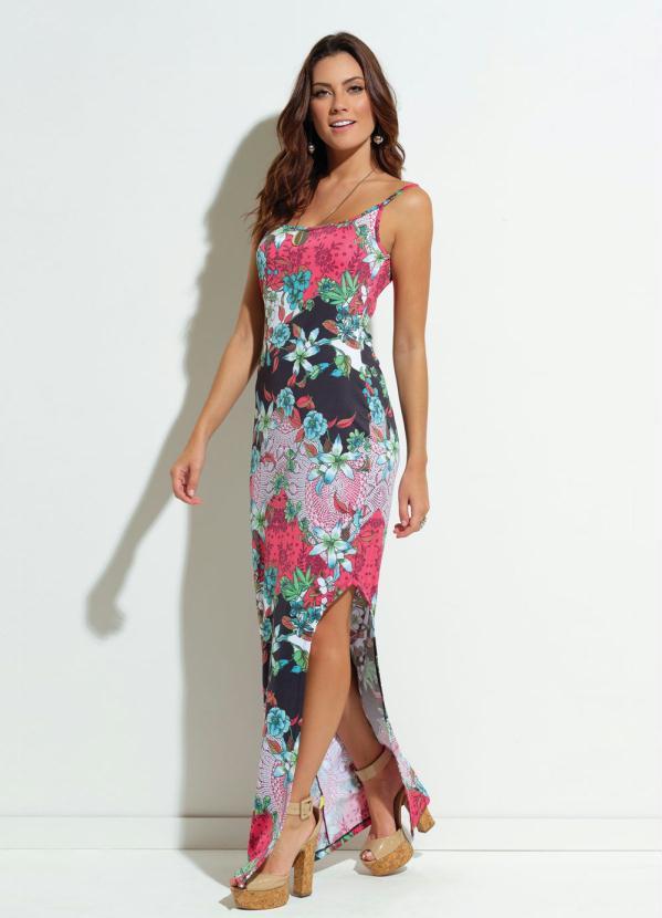 56fe346509 Quintess - Vestido Quintess Justo com Fendas Estampado - Quintess