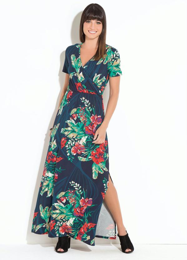 6fd66c22f5 Quintess - Vestido Quintess Longo Floral Marinho - Quintess