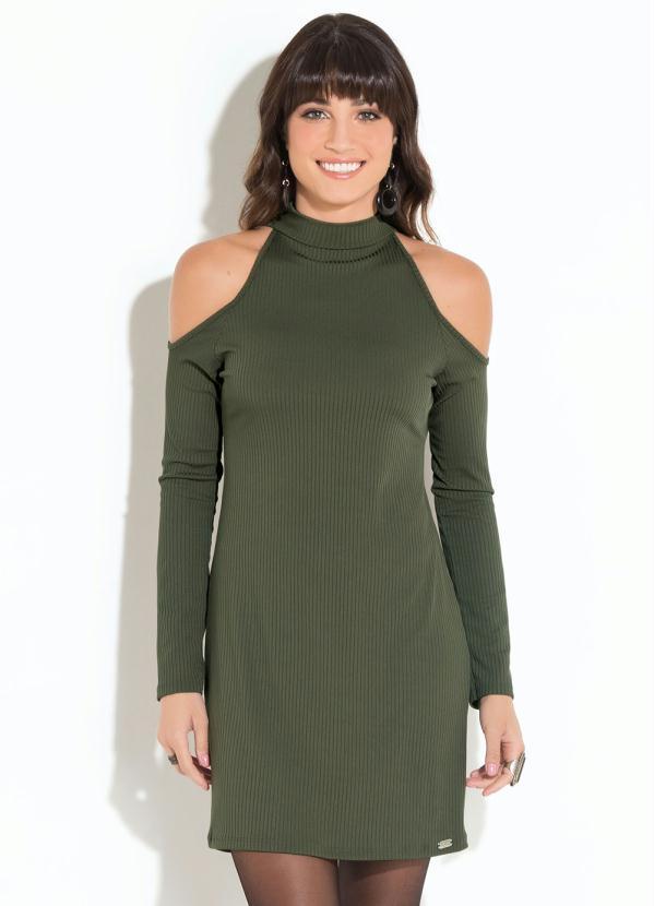 1c9c59146 Quintess - Vestido Quintess Clássico (Verde) Decote com Gola