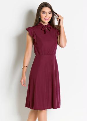 3bff14e0af55 produto Rosalie - Vestido Bordô com Gola Laço Moda Evangélica