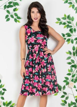 652695581d produto Vestido com Pregas Moda Evangélica Floral Dark