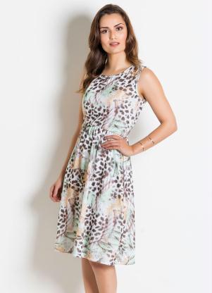 38e10c59a produto Rosalie - Vestido Folhas Forrado Moda Evangélica