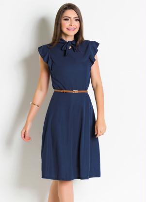 876a57df99 produto Vestido Moda Evangélica Marinho com Gola Laço