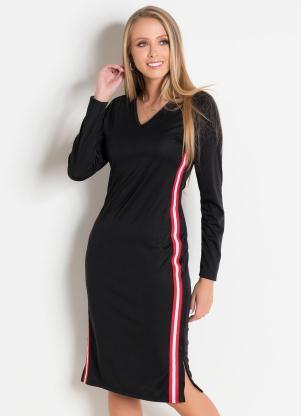e4cd941d37 produto Rosalie - Vestido Preto com Faixa Lateral Moda Evangélica