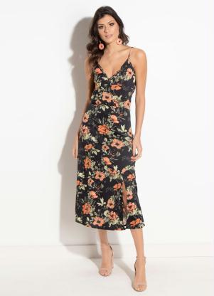 9be9018db produto Vestido Quintess Floral Preto com Fenda