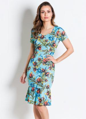2044b3aa6 produto Rosalie - Vestido Tubinho Floral Azul Moda Evangélica