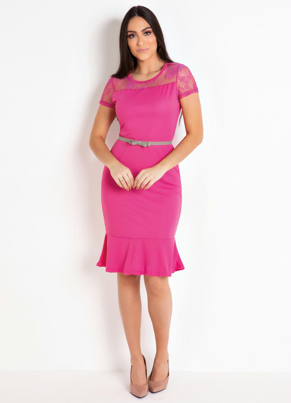 9e6b7ad59 Vestido Pink com Renda e Babado Moda Evangélica - Rosalie