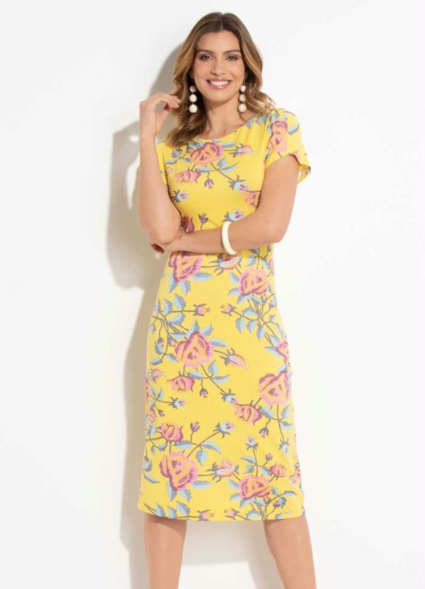 37113f49c Quintess - Vestido Tubinho Mix Floral sem Mangas - Quintess