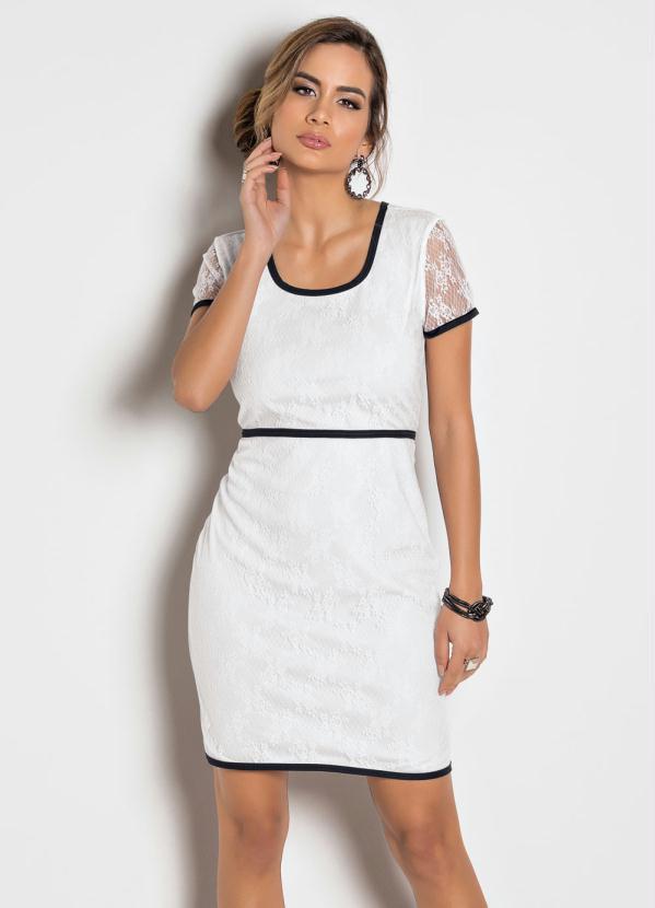 6e40e793f Queima estoque - Vestido Tubinho Branco e Preto em Renda - Queima de Estoque