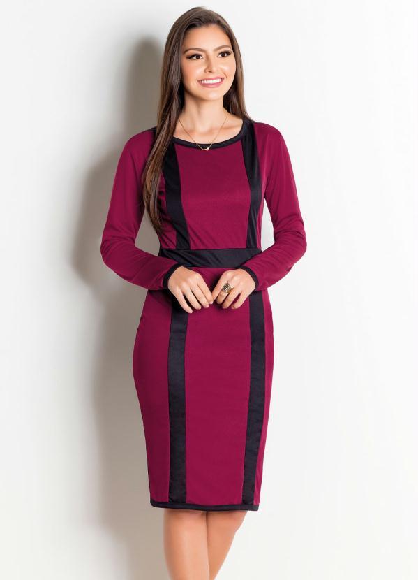 ad89d51fae Rosalie - Vestido Marsala e Preto Moda Evangélica - Rosalie