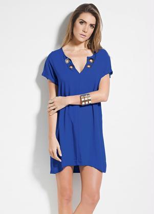 Vestido Colcci Azul Com Ilhós