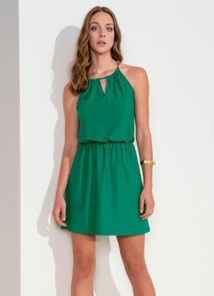 Vestido Com Alças Correntes Verde Lunender