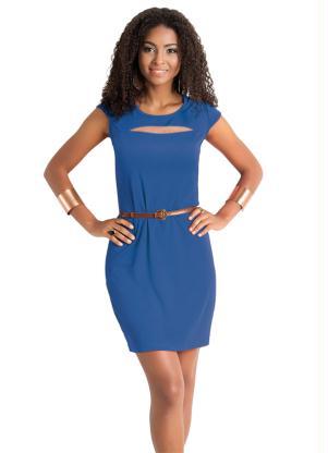 Vestido Com Detalhe De Tule No Decote Azul