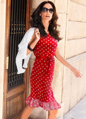 Vestido Com Laço De Cetim Vermelho