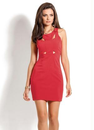 Vestido Com Recortes Frontais Vermelho
