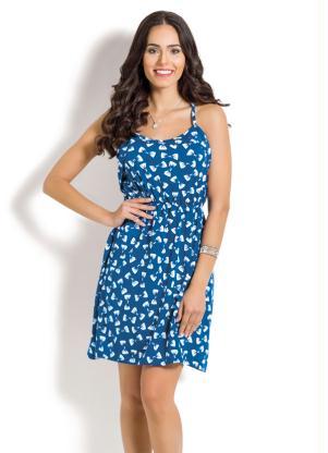 Vestido De Alça Com Babado Azul Com Estampa Laço