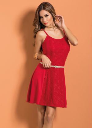 Vestido De Alças Vermelho Com Recorte Em Renda