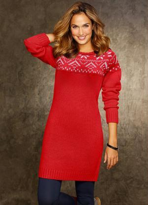 Vestido De Tricô Estampado  Vermelho