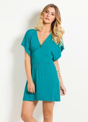 Vestido Decote V Quintess Verde