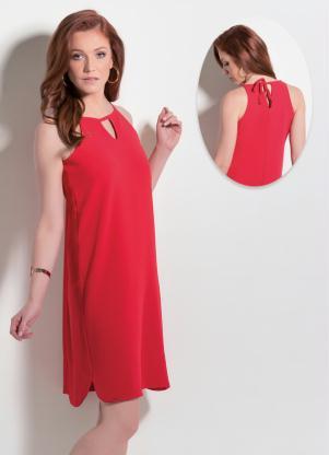 Vestido Detalhe De Gota Frente E Costas Vermelho