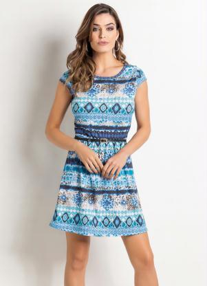 Vestido étnico Azul Manga Curta