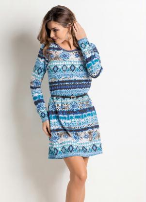 Vestido étnico Azul Manga Longa