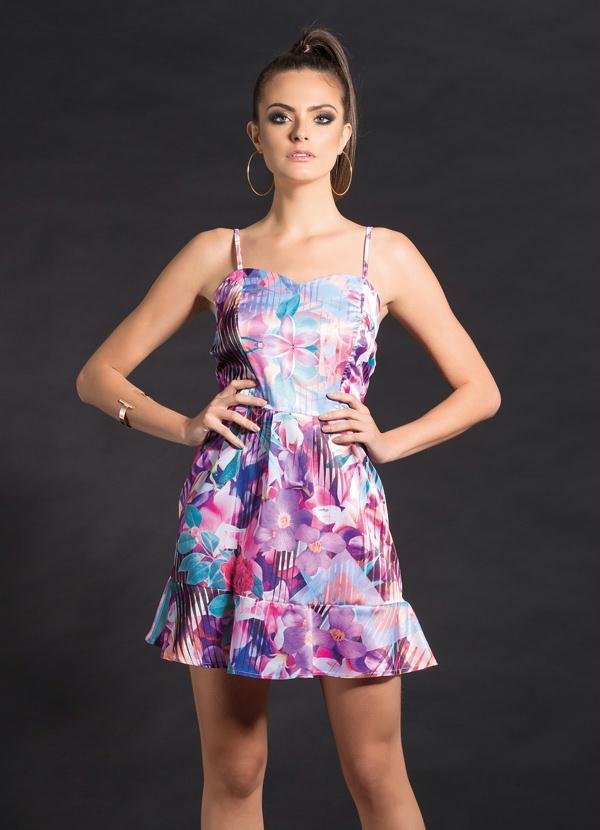 d3978d709 Vestido Evasê de Cetim Floral Lilás - Quintess Outlet