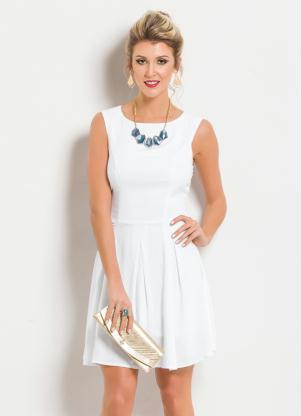 Vestido Evasê Sem Mangas Branco