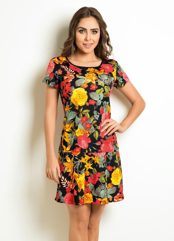 9f44fae8b Queima estoque - Vestido Floral com Babado na Barra e Manga Curta ...