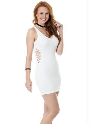Vestido Justo Em Gorgurão Branco Miss Masy