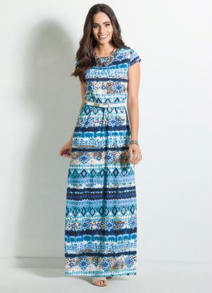 Vestido Longo Com Estampa étnica Azul