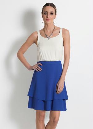 Vestido Mink De Alças Bicolor Azul E Off White