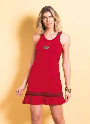 Vestido Quintess Com Babado Na Barra Vermelho