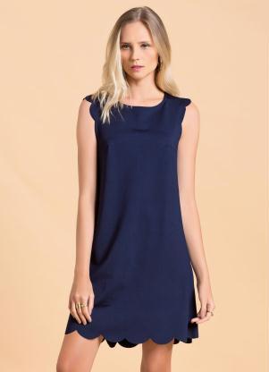 Vestido Reto Azul Marinho Com Barra Ondulada