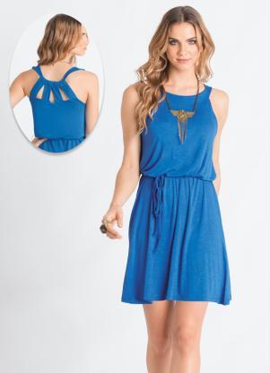 Vestido Trapézio Azul Com Tiras
