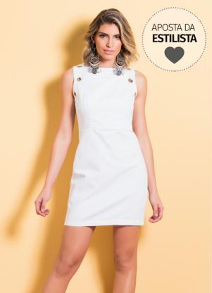 Vestido Tubinho Branco Quintess Com Ilhós