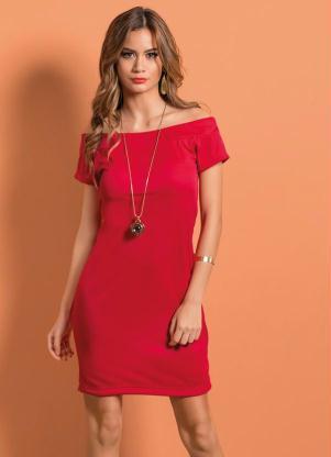 Vestido Vermelho Com Decote Ombro A Ombro