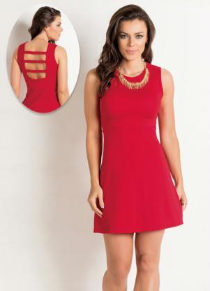 Vestido Vermelho Vazado Costas Com Tiras