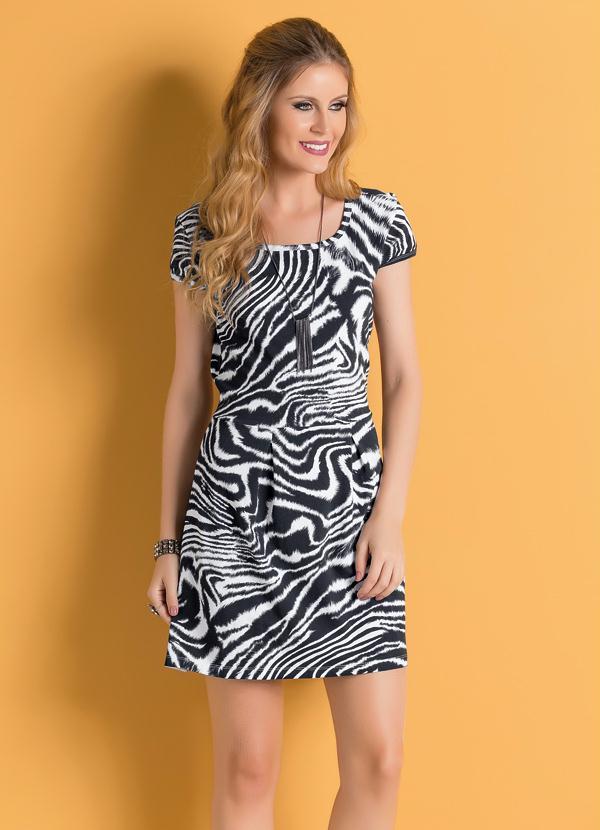 3060e9615f Queima estoque - Vestido Zebra com Mangas Copinho - Queima de Estoque