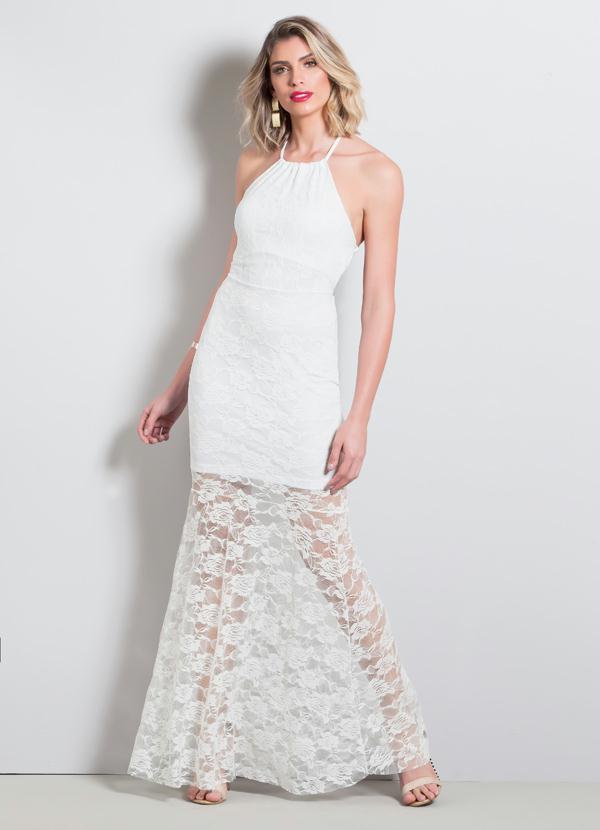 Vestido longo branco com renda preta