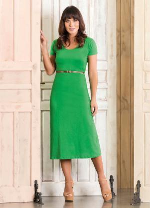 Vestido Longuete Verde Moda Evangélica