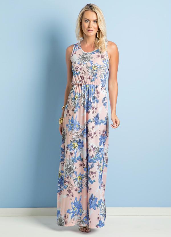 9adf5ad9c Queima Estoque - Vestido Longo Acinturado Floral - Queima de Estoque