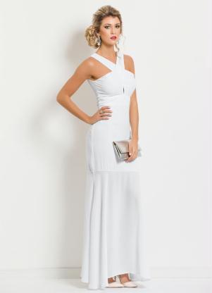 Vestido Longo Com Transpasse Frontal Branco