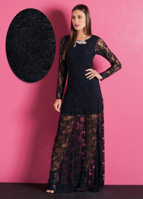 Vestido de renda preto inverno