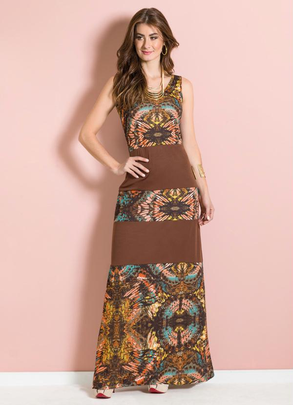 40227b8801 Moda pop - Vestido Longo Estampado com Recortes - Moda Pop