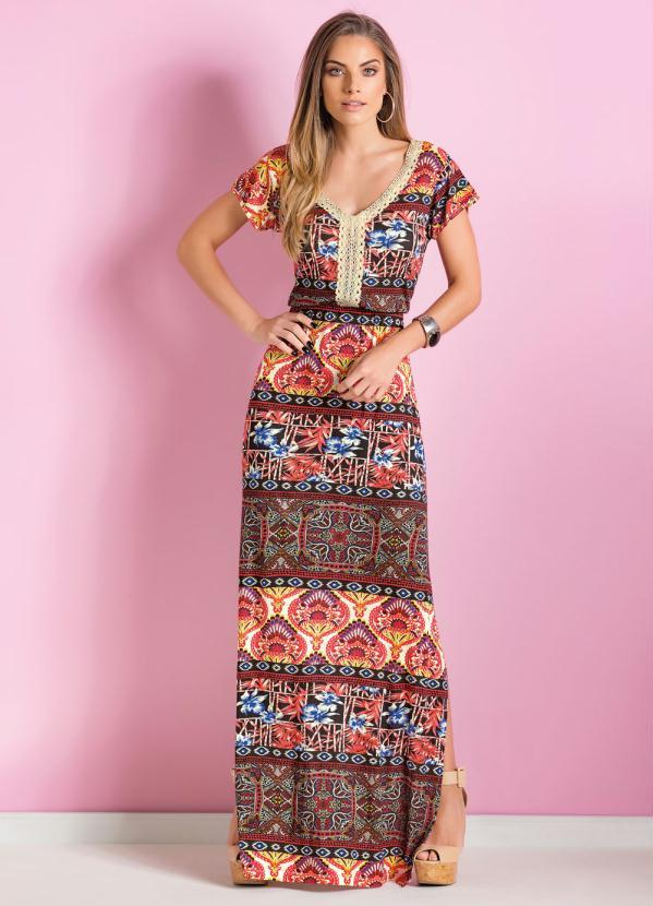 d3438da8e7 Quintess - Vestido Longo Étnico com Fenda Lateral - Quintess