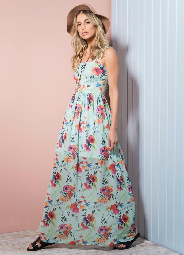 f7b15e438 Quintess Outlet - Vestido Longo Floral Quintess em Chiffon ...